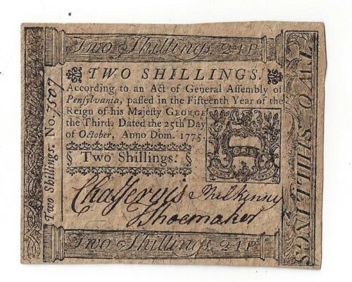 OCTOBER 25,1775 PENNSYLVANIA 2 SHILLINGS COLONIAL CURRENCY PA High Grade