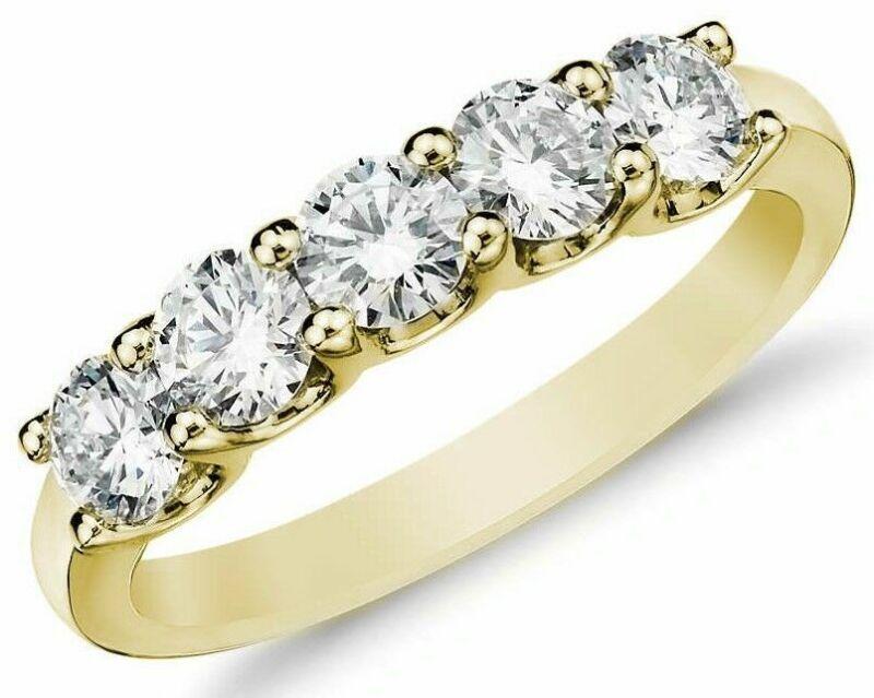 Diamond Wedding Ring band 0.70 Carat Round Cut 14k Yellow Gold Prong set 5 stone