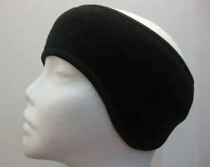 WOMEN BLACK SOFT FLEECE  STRETCH SKI HEADBAND EAR WARMER WRAP - WINTER HEAD BAND