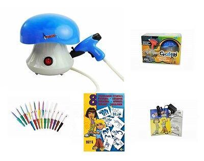 Malinos Blopens Airbrush Set XXL für Kinder mit 20 Stiften + Schablonen blau