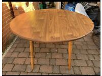 Drop Leaf Round Folding Kitchen or Dining Table ( Spare Christmas / Party or Craft )