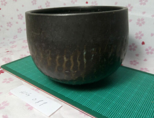"""Excellent 3.898"""" Japanese Vintage Buddhist Copper Bell Hand-Pounded Forged HG011"""