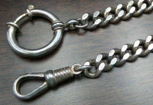 Heavy Antique 19th Century European 835 Silver Pocket Watch Chain