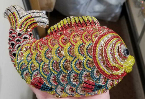 New Gold Multi Color Austrian Crystal Fish Evening Clutch Bag