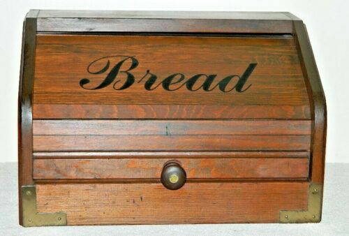 "VINTAGE COUNTRY KITCHEN ROLL TOP WOOD WOODEN "" BREAD "" BOX"
