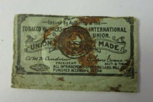 Vintage Indian Plug Chewing TOBACCO WORKERS UNION MADE Paper Tag Advertising