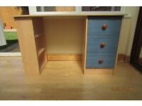 Beech Desk including bookcase with Blue drawers £25