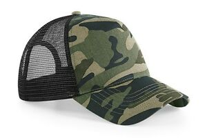Beechfield Basic Snapback / Trucker Cap Hat Camo Army Green & Panther Black