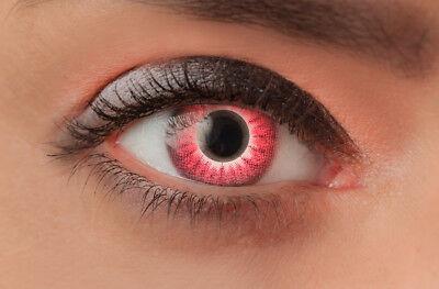 Farbige Kontaktlinsen Motivlinsen für Halloween Kostüm Fasching Red (Red Wolf Kostüm Kontaktlinsen)
