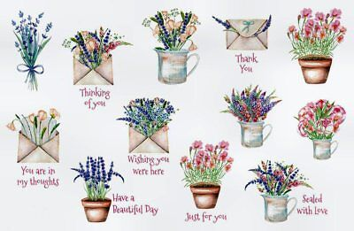 SWEET FLORAL SAYINGS STICKERS USA MADE #29A Thinking of You  Thank You FAST (You Ship Usa)
