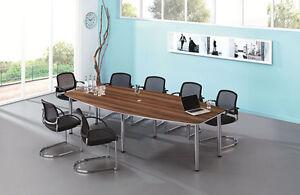 Konferenztisch Chromfüße Zwetschge 2800 x 1300 mm Meetingtisch Besprechungstisch