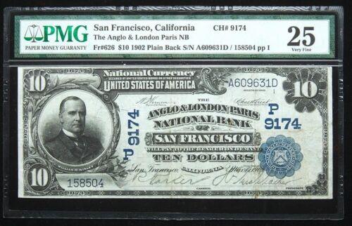 1902 $10 NATIONAL BANKNOTE, SAN FRANCISCO, CA, FR-626 ANGLO & LONDON PARIS BANK
