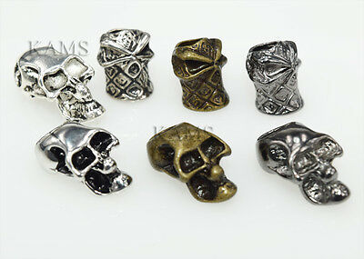 Single/Double Vertical Hole Metal Skull Beads for Paracord Lanyards 3 (Double Hole Beads)