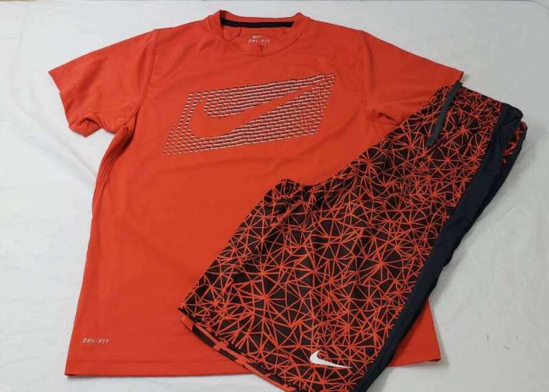 Nike Set Boys Size Large L Shirt Shorts Drifit Orange Gray White Stripe Swoosh