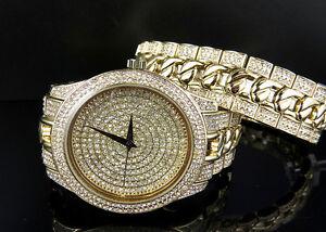 Acabado-dorado-Helado-Reloj-con-Imitacion-diamantes-y-Diseno-pulsera-sobre-laton