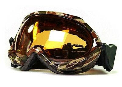 XLINE Pierre Military / Orange SKI SNOWBOARD GOGGLES Anti-fog Mirror Camo Army
