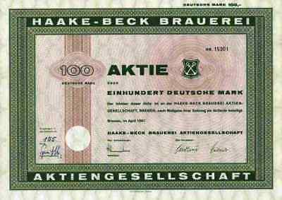 Haake Beck Bier 1961 Bremen Bremerhaven Hamburg Heineken 100 DM Winterhude