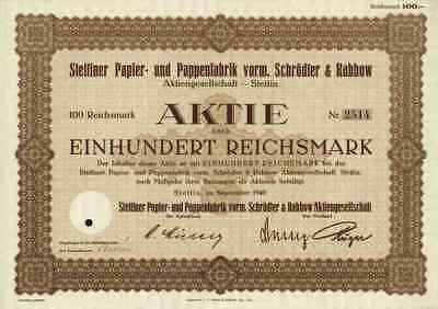 Stettiner Papier Pappenfabrik 1940 Stettin Szczecin Hamburg Rütgerswerke 100 RM