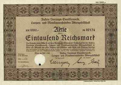 Austria Vereinigte Emaillierwerke EHT Lampen Metallwaren 1940 Wien 1000 RM Elin
