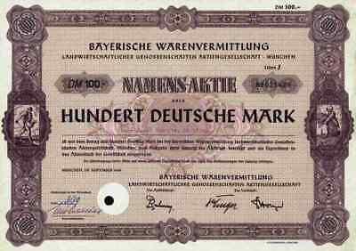 BayWa AG München 1960 Agrarhandel Dresden Dortmund Salzburg 100 DM rare Litera J