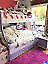 Tri bunk white/purple bed & bedside