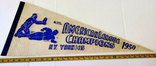 "VINTAGE NEW YORK YANKEES 1950 AMERICAN LEAGUE CHAMPIONS PENNANT 30"" {D147}"