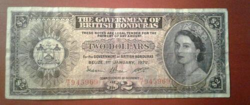 British Honduras 2 Dollars Banknote 1972 *F* P 29c.2 (Belize) #!