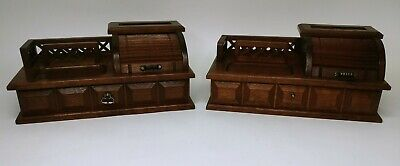 2 Vintage Home Office Desk Organizer Stationery Roll-top Jewelry Box
