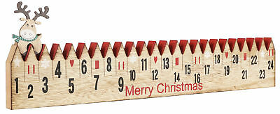 BRUBAKER Advent Calendar - Wooden Fence with Elk - Red/Green - Natural Colors - Advent Colors