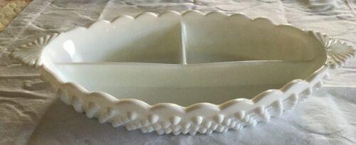 Vintage Fenton White Hobnail Milk Glass Oval Divided Serving Dish