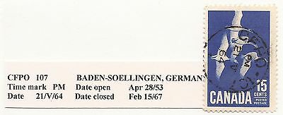 Canadian Field Post Office Cancel 107  Baden Soellingen Germany