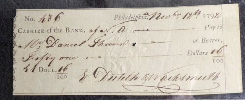 Colonial 1794 Bank of N. America Check No. 486 for $51.00 Cancelled L@@K!!!