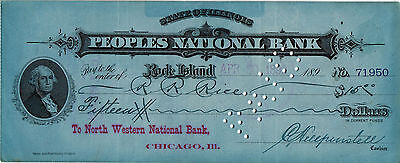 1892 Peoples National Bank Rock Island  Il   Old Vintage Check   Used
