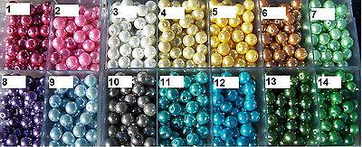 50 Stück Glaswachsperle Perlen 8 mm metallic Basteln Tisch Schmuck Streudeko *