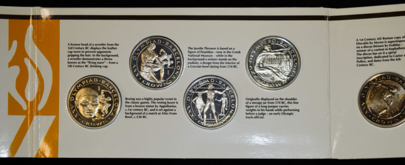 Gibraltar 1 Crown 1992 Olympic Games 8 Coin Lustrous Set in Original Holder