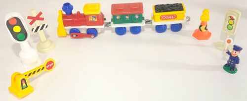 Lot of Plastic Train set Parts, 1 Train, 2 Train Cars and 6 Props