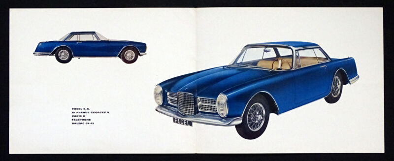1962 FACELLIA F2 French FACEL VEGA II Vintage AUTO DEALER SALES BROCHURE