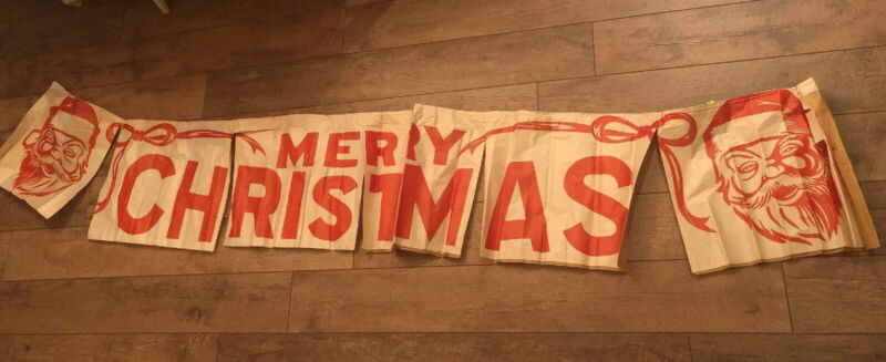 SANTA CLAUS MERRY CHRISTMAS BANNER OVER 7 FEET VINTAGE STORE DISPLAY Paper NOS