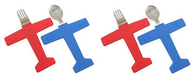 Kids Airplane Fork/Spoon Set Stainless Steel Food Grade Silicone 2 PACK ()