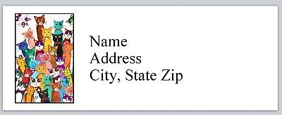 Personalized Address Labels Lots Of Abstract Cats Buy 3 Get 1 Free P 621