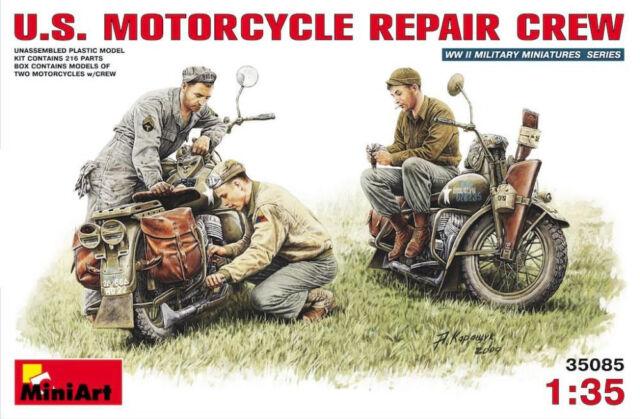 MiniArt U.S. US Motorcycle Repair Crew Motorradmechaniker 1:35 Bausatz Kit 35101