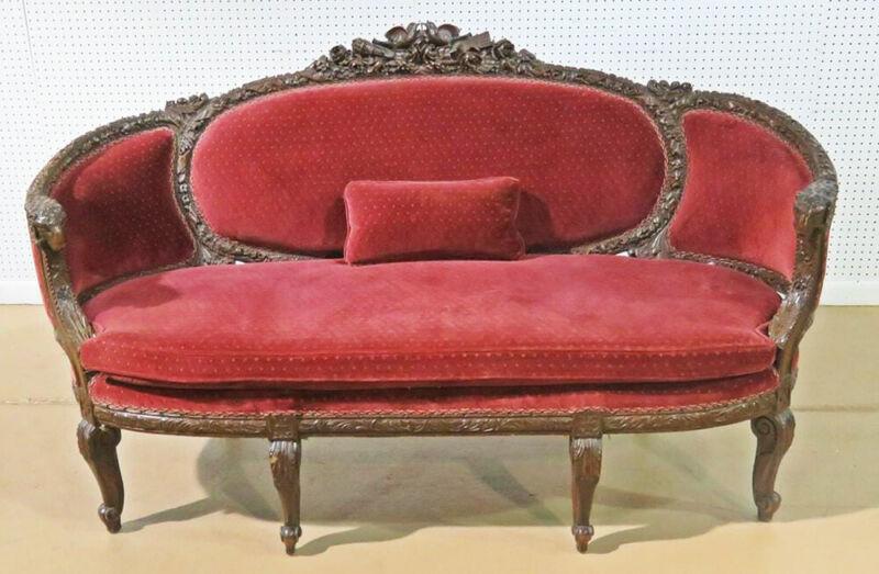 Carved Walnut French Rams Head Louis XVI Settee Canape Sofa Circa 1920