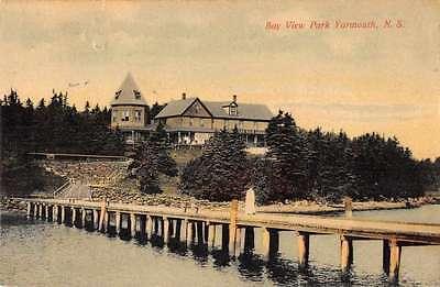 Yarmouth Nova Scotia Canada Bay View Park Pier Woman Antique Pc Z28670
