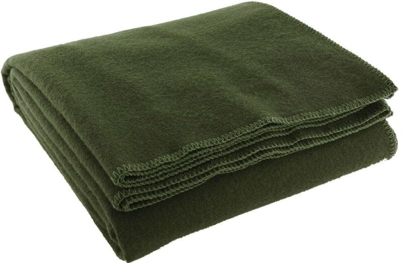 """Olive Drab Wool Emergency Rescue Blanket 60"""" x 80"""" Warm Winter Cover Throw"""
