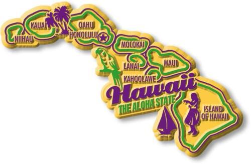 Hawaii the Aloha State Premium Map Fridge Magnet