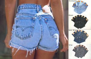 Vintage-Womens-Levis-Denim-High-Waisted-Shorts-Jeans-Hotpants-4-6-8-10-12-14-16