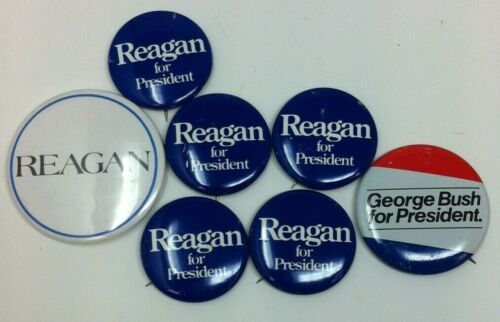 Vintage Set of 7 Reagan and Bush Political Election Buttons