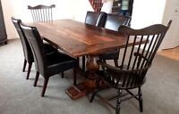 Reclaimed Rustic Harvest Tables and Solid Wood Chairs