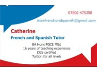 Private Tuition - French and Spanish.