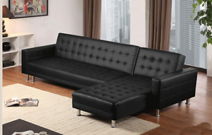 5 seater Pu leather sofa with Chaise black and brown color  3.1m Kingsgrove Canterbury Area Preview